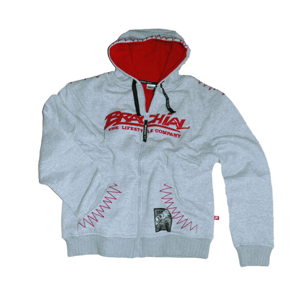 "Brachial Zip-Hoody ""Crew"" grey/red"