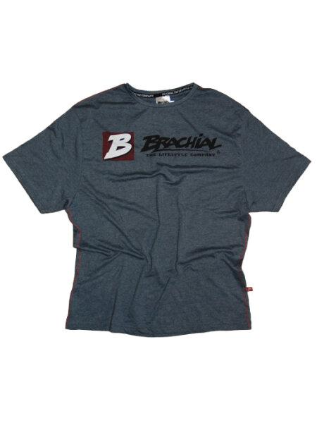 """Brachial T-Shirt """"Sign next"""" dunkelblaumeliert/schwarz L"""