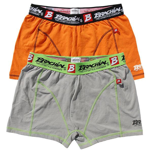 "Brachial 2er Pack Boxer Shorts ""Under"" orange & grau L"