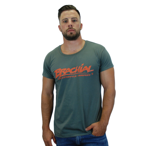 "Brachial T-Shirt ""Sign"" dunkelgrau/orange"